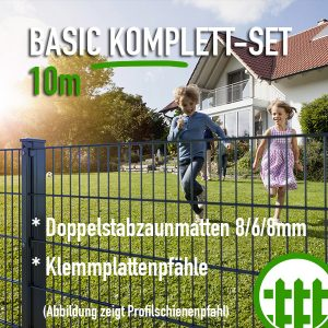 Doppelstabmattenzaun-Set BASIC anthrazit 203cm hoch 10m lang Bild 1