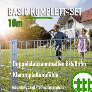 Doppelstabmattenzaun-Set BASIC verzinkt 203cm hoch 10m lang Bild 1
