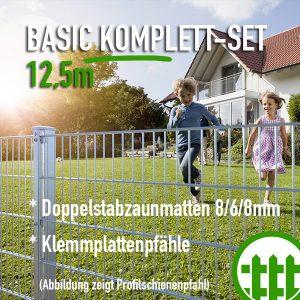 Doppelstabmattenzaun-Set BASIC verzinkt 203cm hoch 12