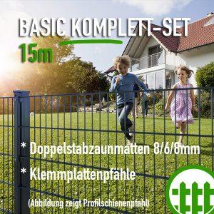 Doppelstabmattenzaun-Set BASIC anthrazit 203cm hoch 15m lang Bild 1