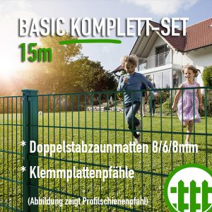 Doppelstabmattenzaun-Set BASIC grün 203cm hoch 15m lang Bild 1