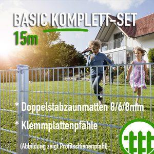 Doppelstabmattenzaun-Set BASIC verzinkt 203cm hoch 15m lang Bild 1