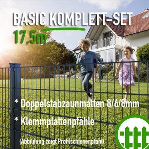 Doppelstabmattenzaun-Set BASIC anthrazit 203cm hoch 17