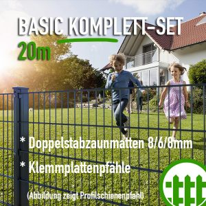 Doppelstabmattenzaun-Set BASIC anthrazit 203cm hoch 20m lang Bild 1