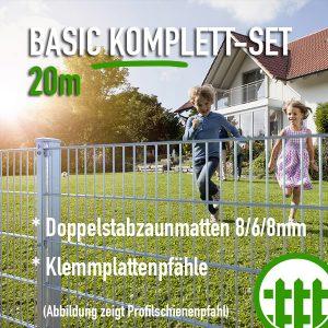 Doppelstabmattenzaun-Set BASIC verzinkt 203cm hoch 20m lang Bild 1