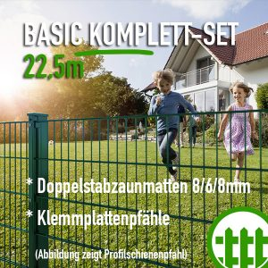 Doppelstabmattenzaun-Set BASIC grün 203cm hoch 22