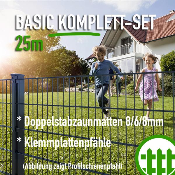 Doppelstabmattenzaun Set Basic Anthrazit 140cm Hoch 25m Lang