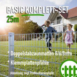 Doppelstabmattenzaun-Set BASIC verzinkt 203cm hoch 25m lang Bild 1