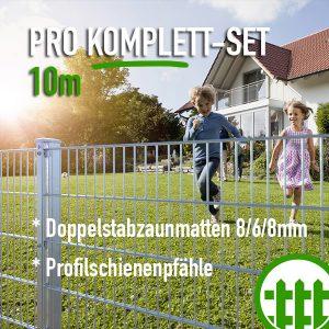 Doppelstabmattenzaun-Set PRO verzinkt 203cm hoch 10m lang Bild 1
