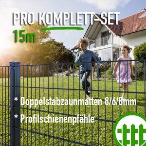 Doppelstabmattenzaun-Set PRO anthrazit 203cm hoch 15m lang Bild 1