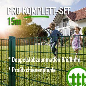 Doppelstabmattenzaun-Set PRO grün 203cm hoch 15m lang Bild 1
