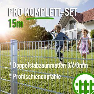 Doppelstabmattenzaun-Set PRO verzinkt 203cm hoch 15m lang Bild 1