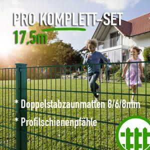 Doppelstabmattenzaun-Set PRO grün 203cm hoch 17