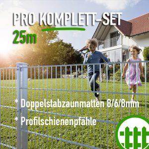 Doppelstabmattenzaun-Set PRO verzinkt 203cm hoch 25m lang Bild 1