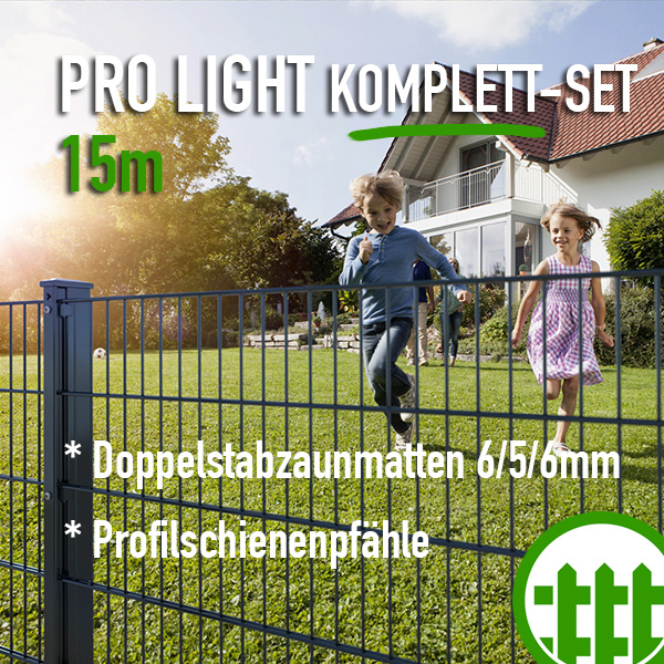 Doppelstabmattenzaun Set Pro Light Anthrazit 120cm Hoch 15m Lang
