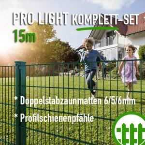 Doppelstabmattenzaun-Set PRO LIGHT grün 203cm hoch 15m lang Bild 1
