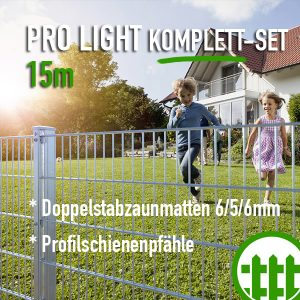 Doppelstabmattenzaun-Set PRO LIGHT verzinkt 203cm hoch 15m lang Bild 1