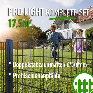 Doppelstabmattenzaun-Set PRO LIGHT anthrazit 203cm hoch 17
