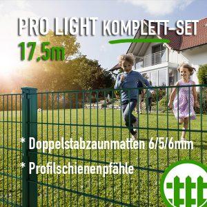 Doppelstabmattenzaun-Set PRO LIGHT grün 203cm hoch 17