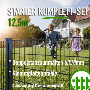 Doppelstabmattenzaun-Set STARTER anthrazit 203cm hoch 12