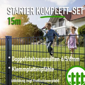 Doppelstabmattenzaun-Set STARTER anthrazit 203cm hoch 15m lang Bild 1