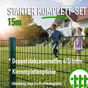 Doppelstabmattenzaun-Set STARTER grün 203cm hoch 15m lang Bild 1