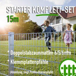 Doppelstabmattenzaun-Set STARTER verzinkt 203cm hoch 15m lang Bild 1