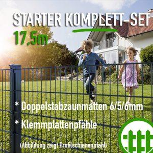 Doppelstabmattenzaun-Set STARTER anthrazit 203cm hoch 17