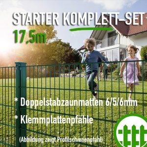 Doppelstabmattenzaun-Set STARTER grün 203cm hoch 17