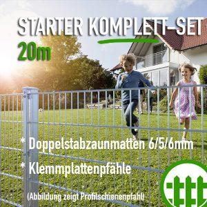 Doppelstabmattenzaun-Set STARTER verzinkt 203cm hoch 20m lang Bild 1